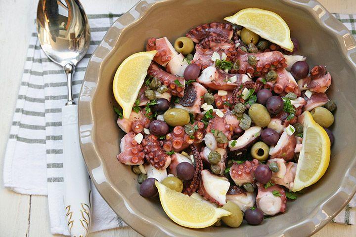 Ricetta Polpo in galera condito con capperi e olive