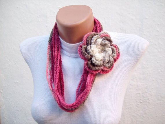 Removeable Brooch Pin  Handmade crochet Lariat Scarf by nurlu