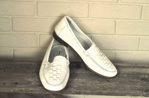 Vintage Mens Loafers White Italian Leather By Florsheim Mens Shoes 10 1980's Casual Retro Mens Fashion