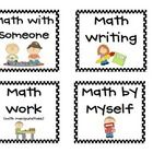 Freebie - These labels can be used in your Daily 5 math centers to label buckets.   Included in two sizes: Math by Myself Math with Someone Math Writing Math...