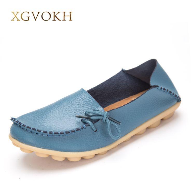 Mode Femmes en cuir véritable mère Chaussures Mocassins femmes Soft Loisirs Flats Femme Driving Chaussures plates,bleu,6