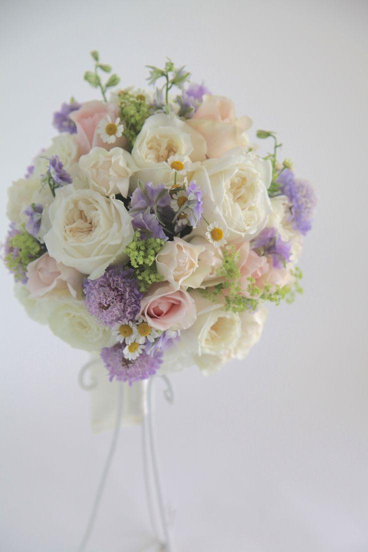 ラウンドブーケ/パステルカラーブーケ/花どうらく/ブーケ/http://www.hanadouraku.com/bouquet/wedding/