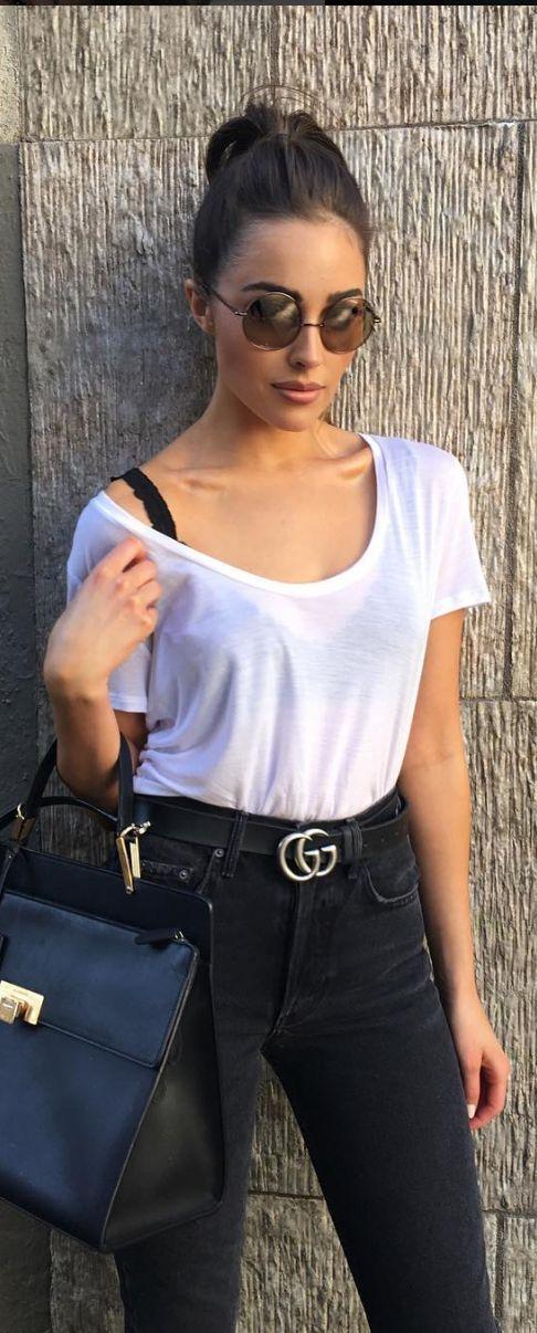 Olivia Culpo:Sunglasses – Elizabeth and James  Shirt – Re/done  Belt – Gucci  Jeans – Mother