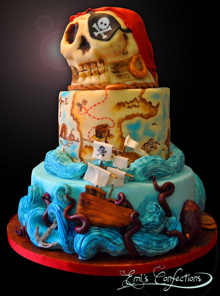 pirate birthday party cakes | Pirate Ship Cake, Skull Cake ...