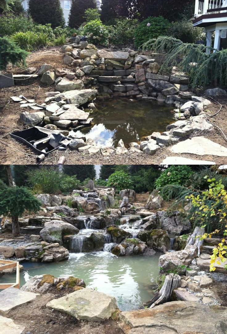 Transformation by Atlantis Water Gardens in Rockaway, NJ. | Before and After | Water garden, Water, Water features in the garden