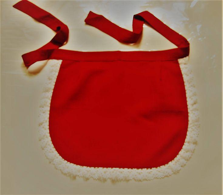 #etsy shop: Small apron - Linen Half Apron - Cafe Apron - Linen Apron - Red Apron with lace http://etsy.me/2EENbbq #housewares #red #white #linenhalfapron #cafeapron #linenapron #redapron #whitelace #halfapron