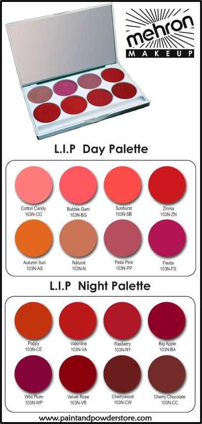 Mehron's L.I.P Cream Color Palette lip colors have been