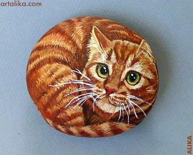 Painted Rocks  artalika: Cats, Cat Hands, Cat Paintings, Gingers Cat, Pet Rocks, Kitty Rocks, Hands Paintings Rocks, Rocks Paintings, Rocks Art