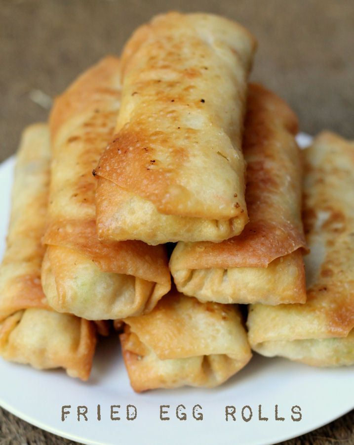 Delicious Fried Egg Rolls recipe - filled with shredded chicken and cole slaw!
