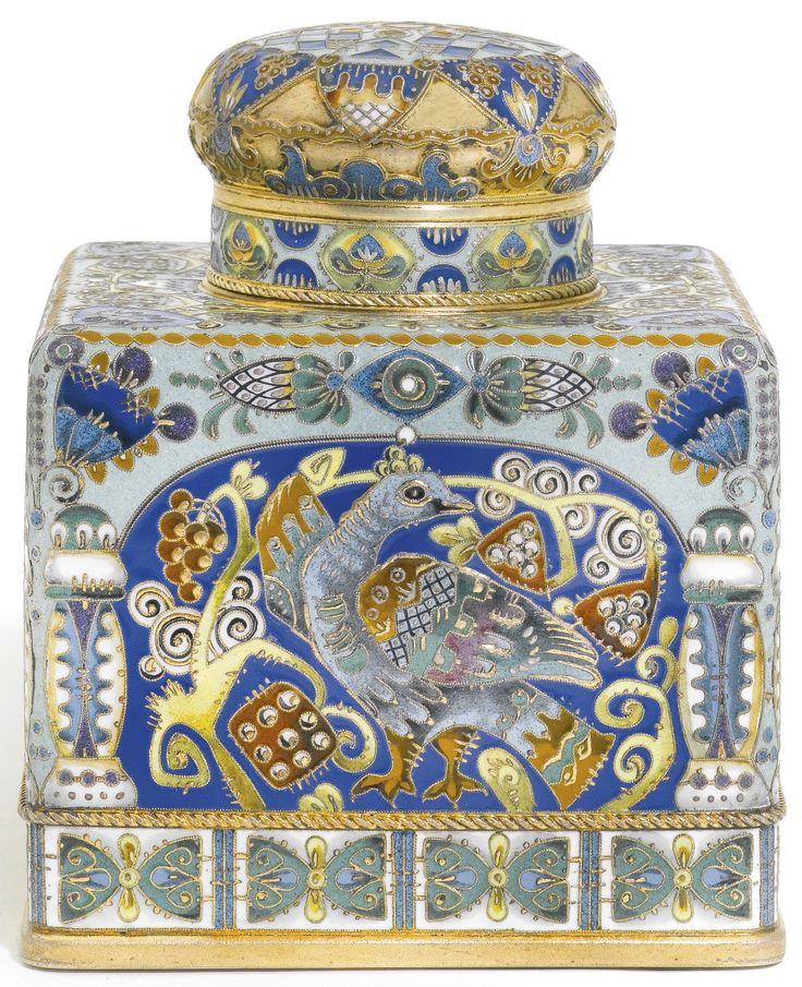 A Fabergé silver-gilt and cloisonné enamel tea caddy, workmaster Feodor Rückert, Moscow, 1908-1917 | lot | Sotheby's