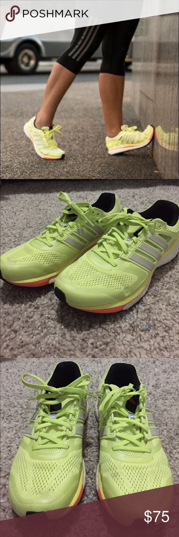 ❗️SALE❗️Adidas Supernova Glide Boost - Yellow Adidas Supernova Glide Boost - Color Yellow - Size 9 1/2 - has some very faint signs of wear in the front like the picture shows but other than that they look new. Very cool vibrant sneakers 🍋 adidas Shoes Sneakers