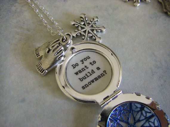Frozen Anna Locket Necklace Do you want to build a snowman quote inside gift for her teen tween on Etsy, $28.00