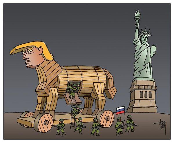 Russians in USA - Netherlands cartoon - Arend VanDam artist