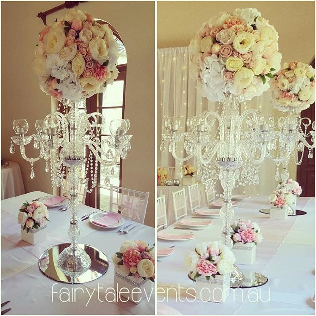 Divine wedding at a private estate in the Southern Highlands #fairytaleevents #crystalcandleabra #candelabrahiresydney #floraloncandelabra #luxwedding #silkflorals #yesreallytheyaresilk