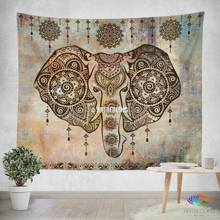 S size Elephant Tapestry, Elephant wall tapestry, Indie tapestry wall hanging, bohemian wall tapestries, Boho tapestries, Chabby chic decor