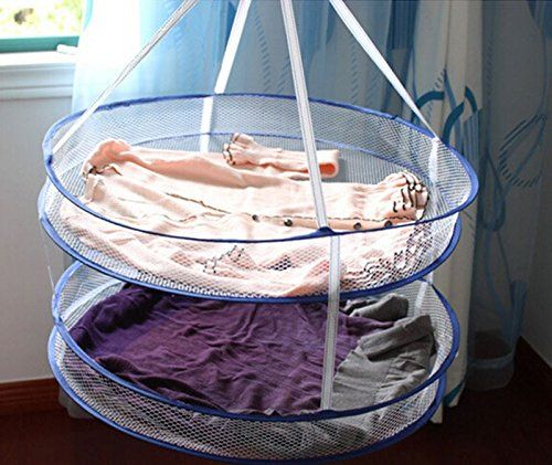 Amazon.com - Drying Rack Folding Hanging Clothes Laundry Basket Dryer Net 2 Layers Hot Sell -