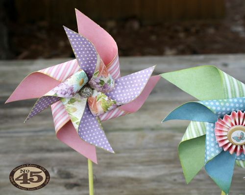 Learn how to make these great spring pinwheels with a video tutorial from Miranda #Graphic45 #tutorials