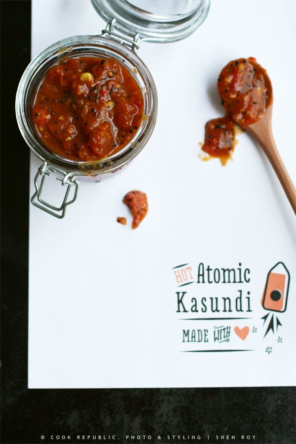 Hot Atomic Kasundi: A spicy tomato chutney with the heat of a million chillies to make and give away as gourmet gifts. Not for the faint of heart.