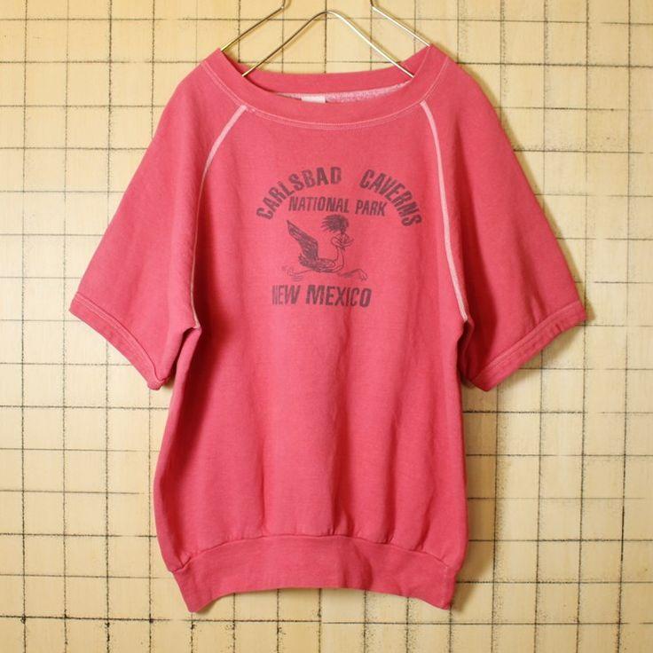 古着 USA製 ピンク プリント 半袖スウェット 70s Carlsbad Caverns National Park トレーナー メンズM ロードランナー