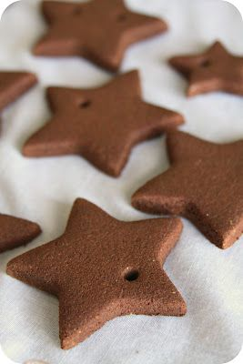 Cinnamon Ornaments -  The recipe calls for a few ingredients: • 4 oz. (or 1 CUP) cinnamon • 1 TABLESPOON ground cloves • 1 TABLESPOON ground nutmeg • 3/4 CUP applesauce • 3 TABLESPOONS white glue  // Dry for 3 days at room temp.