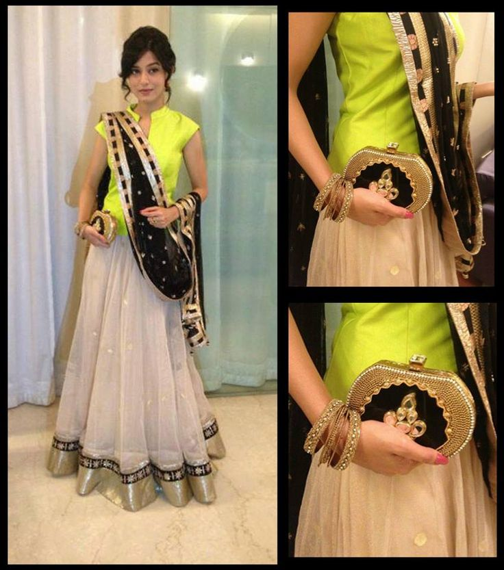 Amrita Rao looked elegant and bright in her Anita Dongre lehenga with Pinky Saraf's cluch