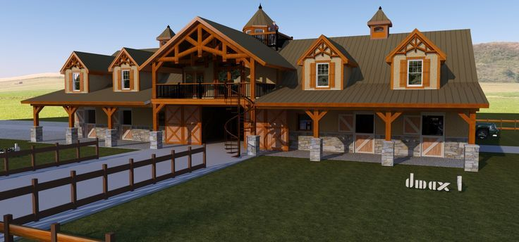 6 Stall, Tack, Wash, 3 Bedroom Horse Barn w/ Living Quarters Copyrights Dmaxdesigngroup.com