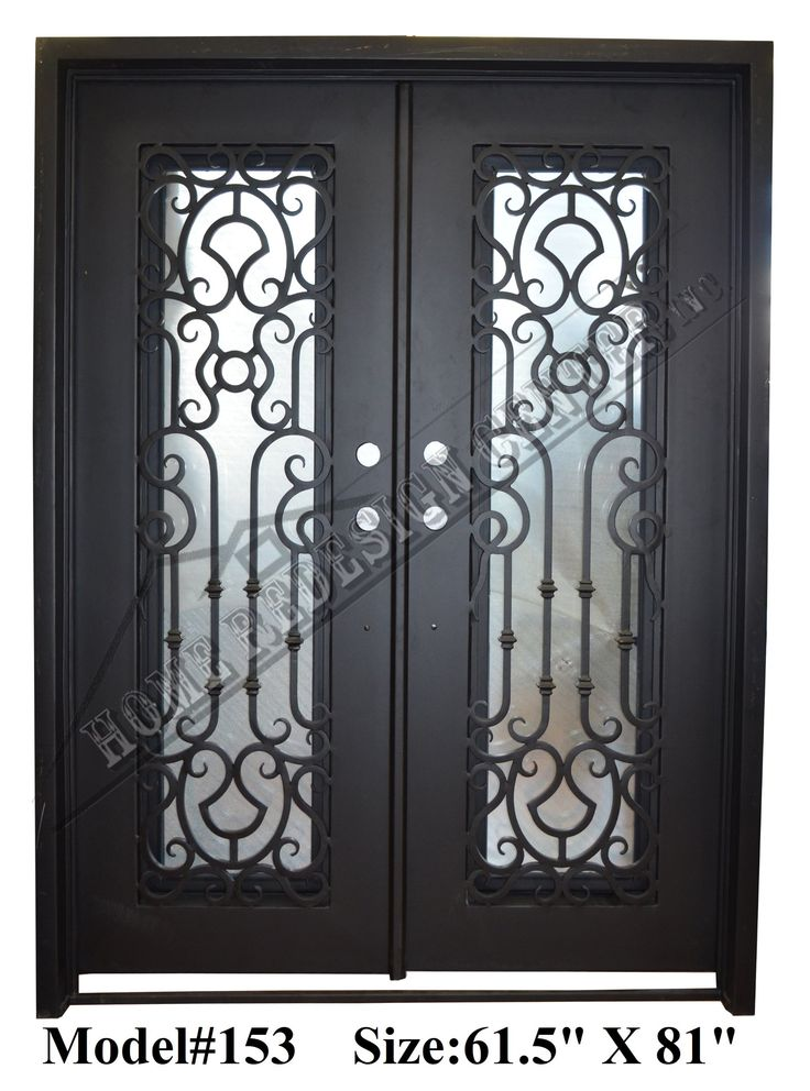 Florence 61 5 in x 81 in wrought iron entry double doors for Screen door for double door entry