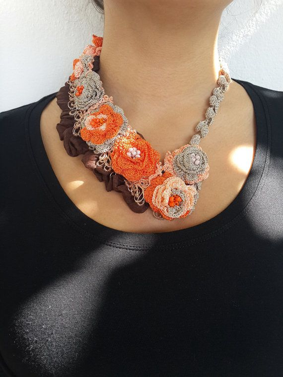 Crochet Necklace-Beaded Orange Necklace-Wedding Necklace-handmade necklace--Multi Strand Necklaces-Trending Items-gift ideas for woman