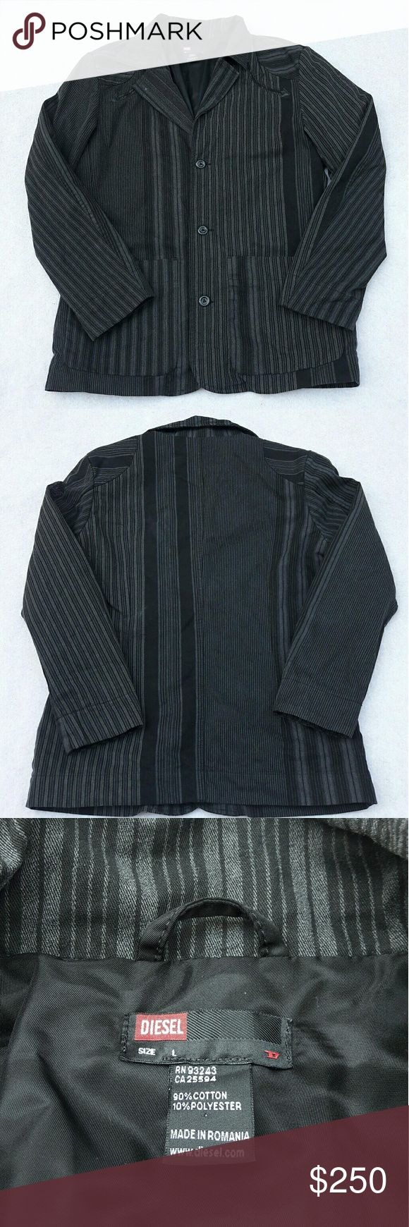 "Diesel Sport Coat Blazer Suit Diesel Mens Sz Large Black Striped 3 Button Sport Coat Suit Length:30"" Armpit to armpit:22"" Gently used with no flaws. Please see photos for exact details. Thank you for patronizing us. Diesel Jackets & Coats"