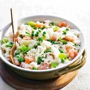 Garnalen risotto met prei en doperwten, ook eenvoudig geschikt te maken voor dreumesen.