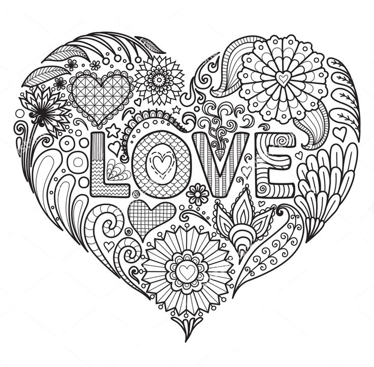 Love zentangle coloring page