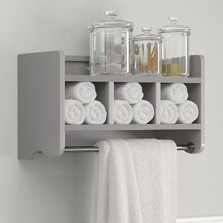 Bolton Bathroom Storage Cubby Amp Towel Bar Wall Shelf Grey Diy Bathroom Inspiration Bathroom