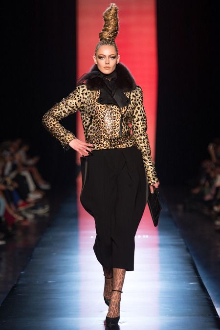 Jean Paul Gaultier Fall Couture 2013. 1980-1995 Costume for Women: the models are styled with 80's-like hairstyles.