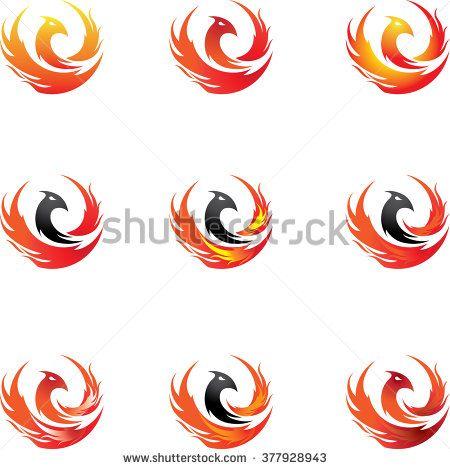 phoenix icon vector flaming tattoo