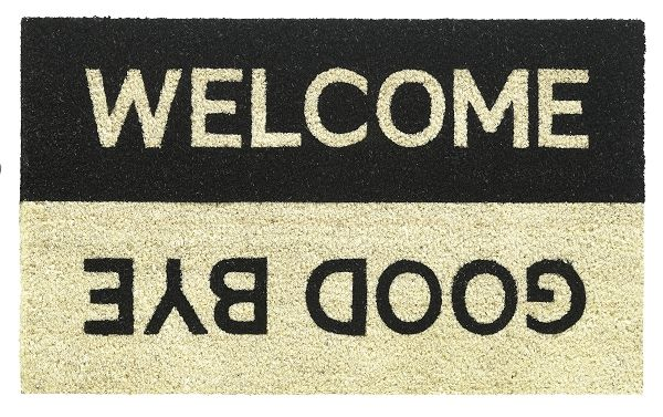 Kokosmat met print / Welcome Goodbye 607 / 40 cm x 70 cm /  Bedrukte kokosmat met unieke uitstraling.   deurmatshop.nl !