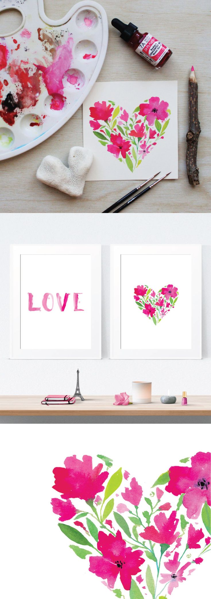 LOVE | Printable Wall Art | Watercolour Floral Heart Painting + Typogrpahy Brush Lettering by PRINTSPIRING | Instant Download