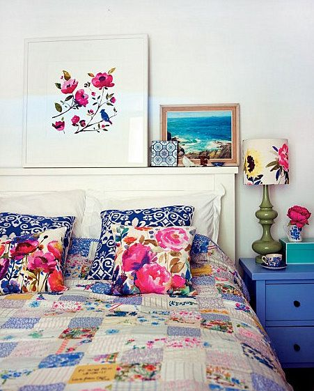 BedroomGuest Room, Quilt, Selina Lakes, Pattern, Colors, White, Bedside Tables, Floral Bedrooms, Prints