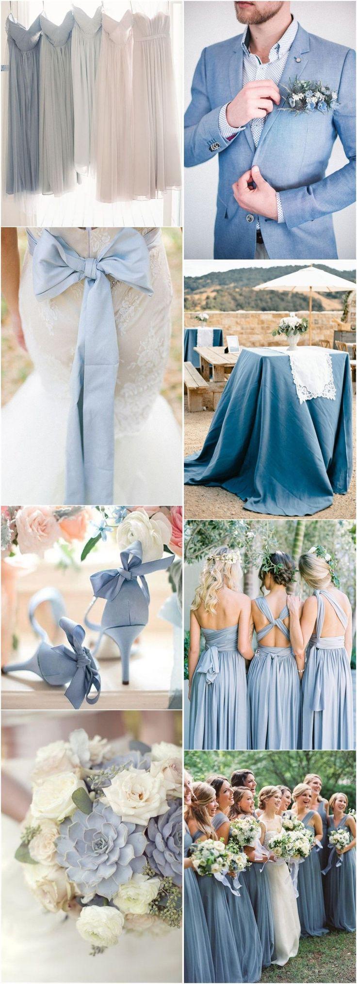 Wedding Colors » 2017 Wedding Inspiration: Dusty Blue Wedding Color Ideas » ❤️ More: http://www.weddinginclude.com/2017/08/wedding-inspiration-dusty-blue-wedding-color-ideas/