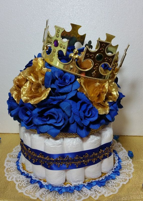 Pin this DIAPER CAKE Centerpiece With Crown For Prince Child Bathe / Royal Blue & Gold Theme Centerpiece