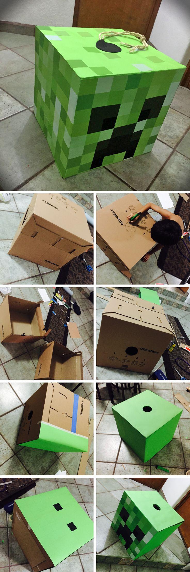 Piñata de creeper de Minecraft #homemade #diy #minecraft #piñata