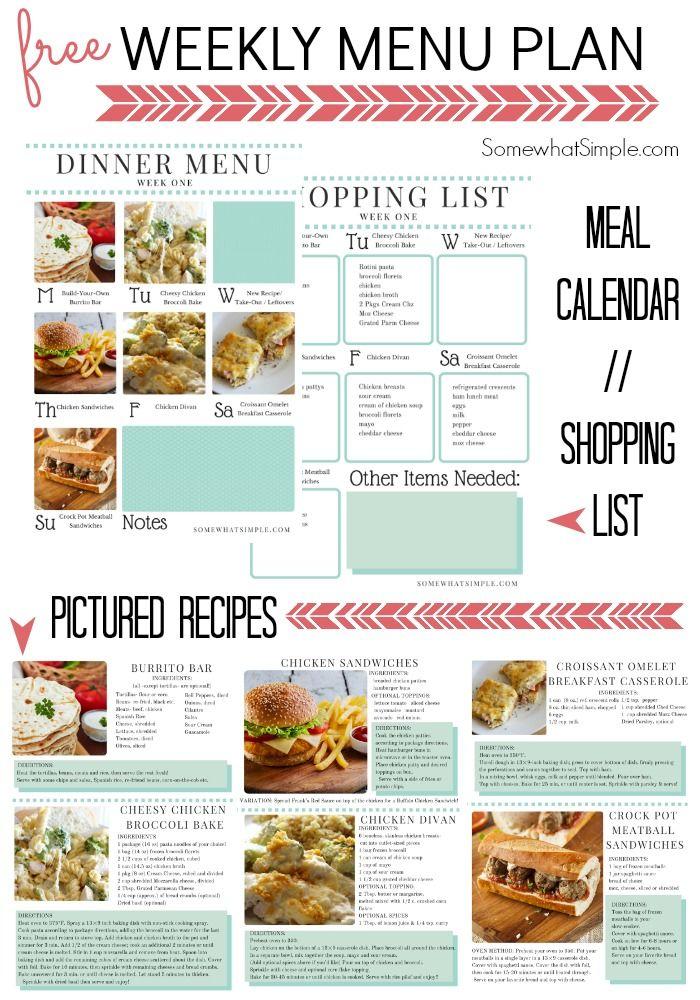 Dinner Menu- Week 1 - Somewhat Simple
