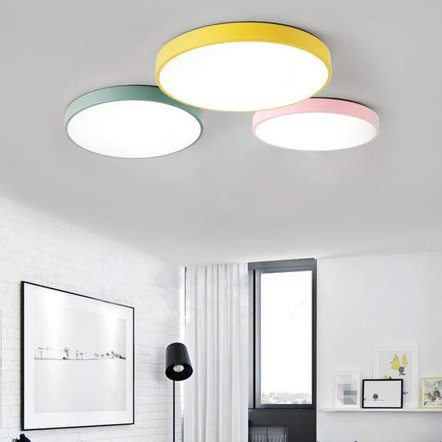 Modern Ceiling Lights Round Led Lamp Macaron Light