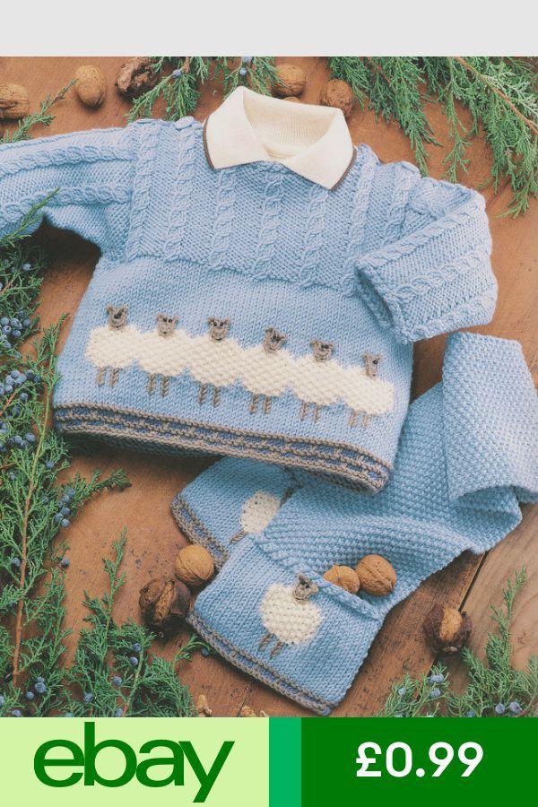 Baby Sheep Sweater Jacket Schal & Mütze 0 2 Jahre DK