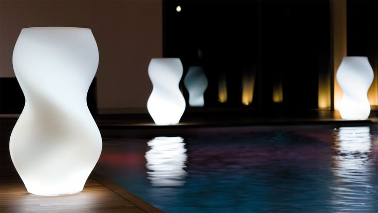 """""""Twister Lamp"""" is a lively, illuminated outdoor vase that owes its strength to the helical shape that transmits energy and beauty."""