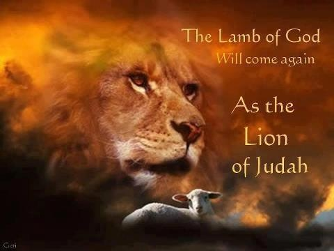 - Jesus is coming back as the Lion of Judah   When Jesus is referred to as the Lion and the Lamb, we are to see Him as not only the conquering King who will slay the enemies of God at His return, but also as the sacrificial Lamb who took away the reproach of sin from His people so they may share in His ultimate victory.   Read more: http://www.gotquestions.org/Lion-and-the-Lamb.html#ixzz3SiZePUqI