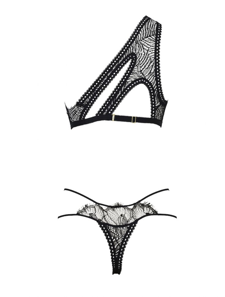 "Tisja Damen ... Luxury Lingerie ... The ""Hymm"" A-Symmetrical Bra Mix, Matched with The ""Ophelia"" Thong ... Black Lingerie with Chantilly and Leavers Lace"