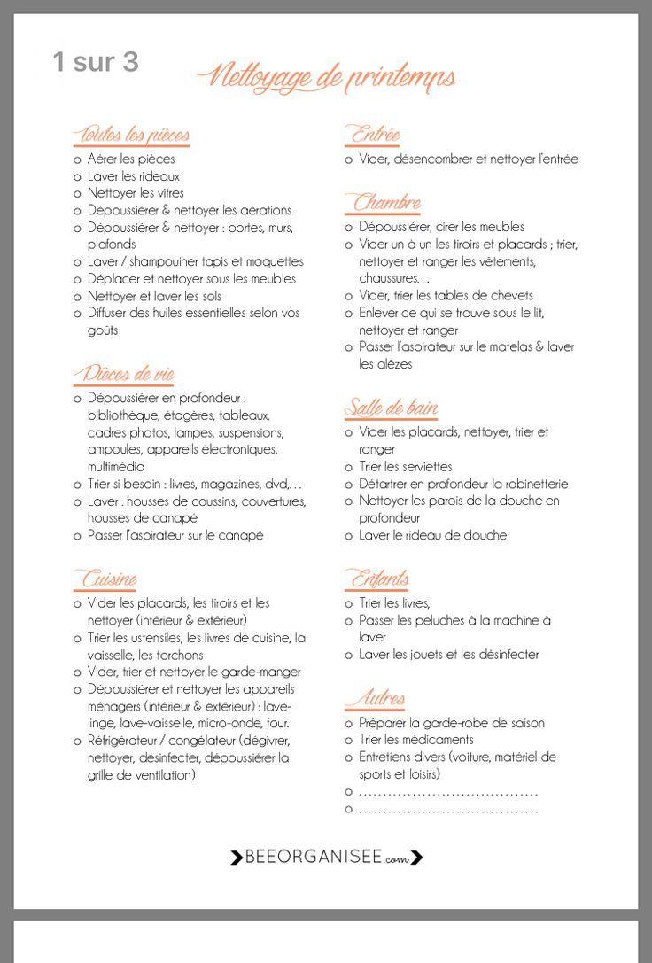 Liste Imprimable Pour Le Nettoyage De Printemps Nettoyage De Printemps Planning De Nettoyage Plan De Nettoyage