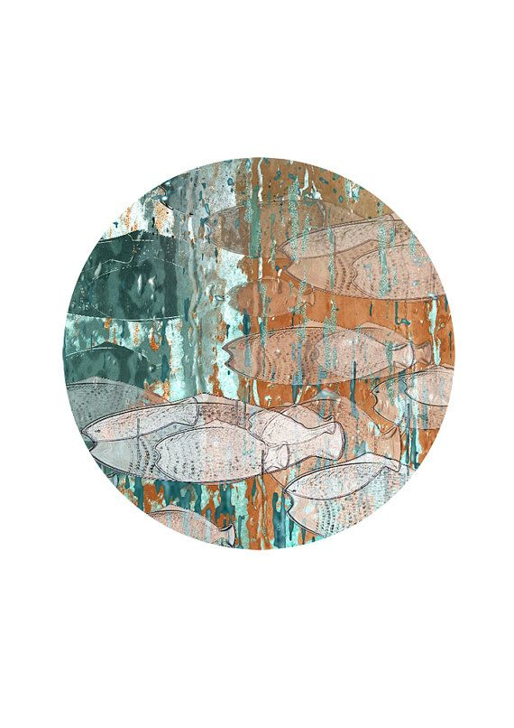 circle waveart printhome decorationwall cover by aquamorina