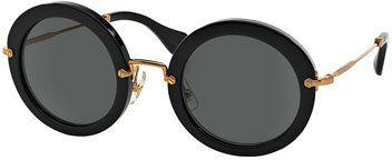 Miu Miu Round Acetate Sunglasses, Black