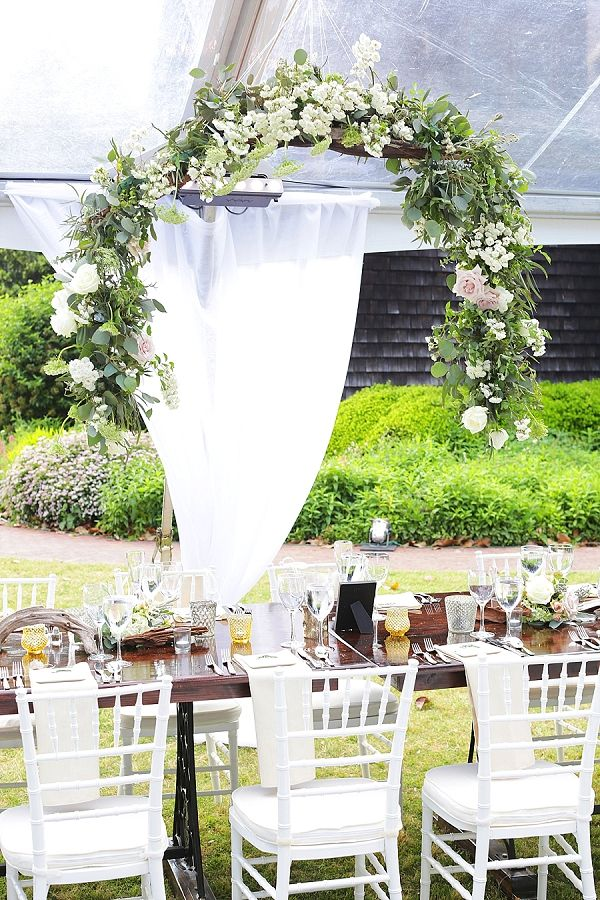 Floral arch for wedding reception